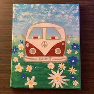 Acrylic Hand- Painted VW Bus Canvas